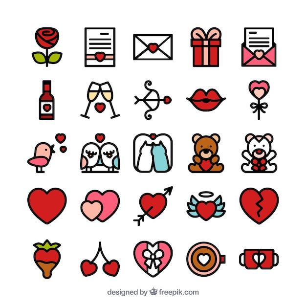 Lovely Saint Valentine Icons Free Vector