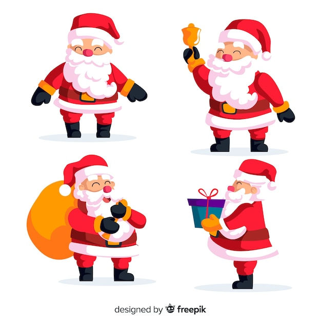 Lovely santa claus character collection with flat design Free Vector