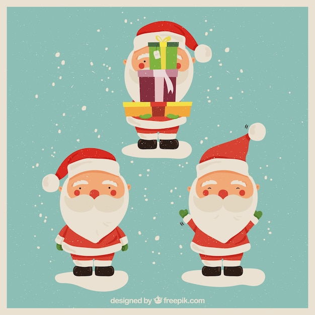 Lovely santa claus in different positions