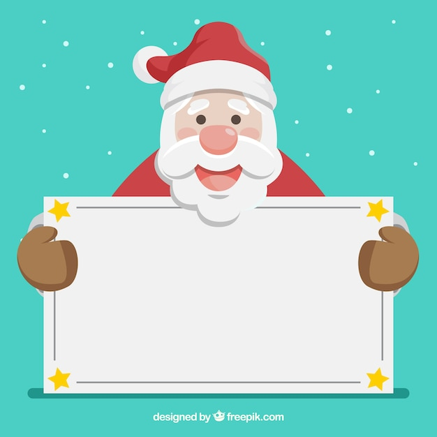 Lovely santa claus with blank sign Free Vector
