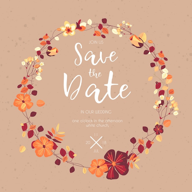 lovely save the date template vector free download