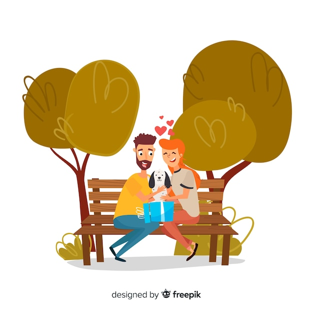 Lovely scene of couple with cute puppy in the park Free Vector