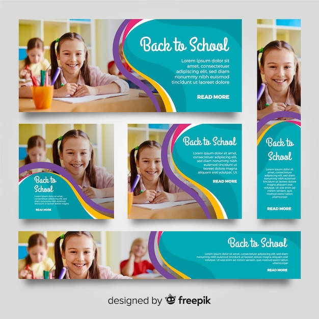 Lovely school banners with photo Free Vector