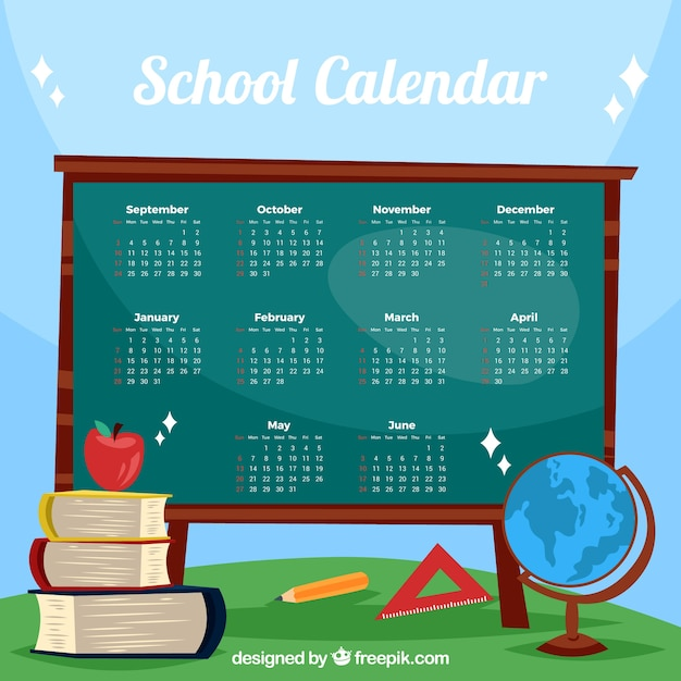 Lovely school calendar with blackboard and materials