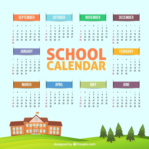 Lovely school calendar with school building and trees