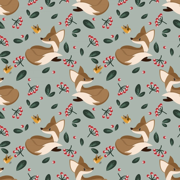 Lovely seamless pattern with cute foxes. Premium Vector