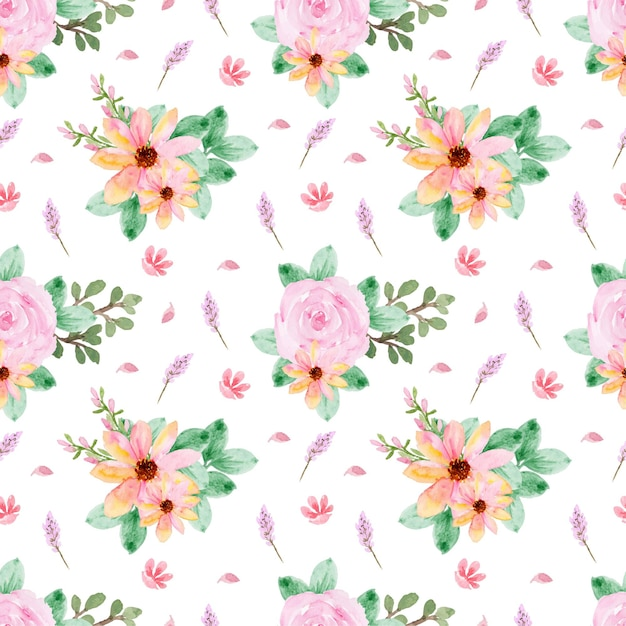 Lovely seamless pattern with yellow pink roses Premium Vector