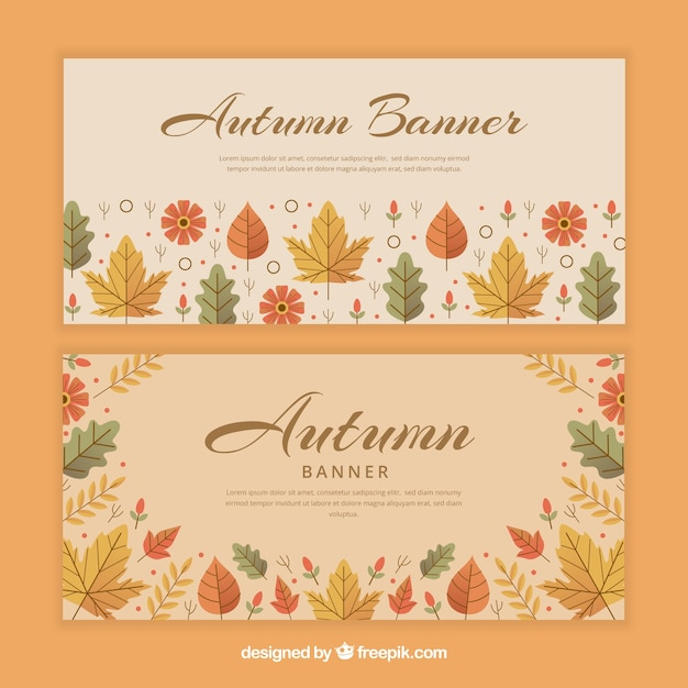 Lovely set of autumn banners with flat design Free Vector