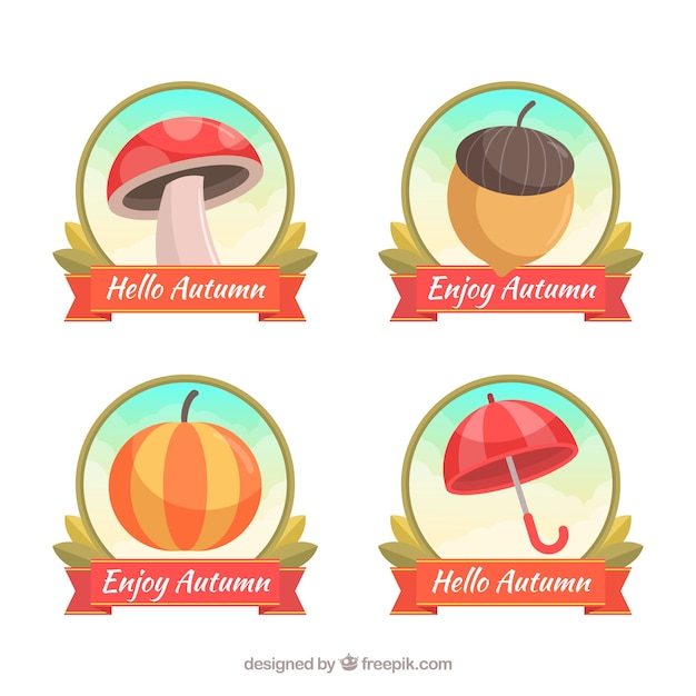 Lovely set of autumn labels with flat design Free Vector