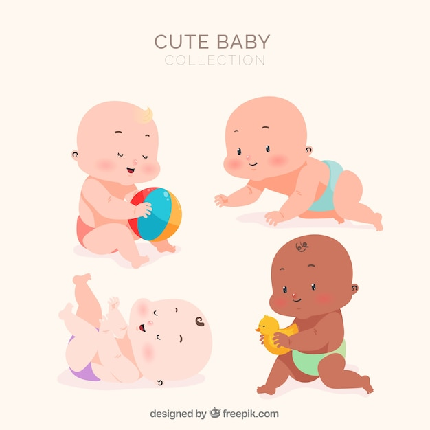 Lovely set of babies with flat design Free Vector