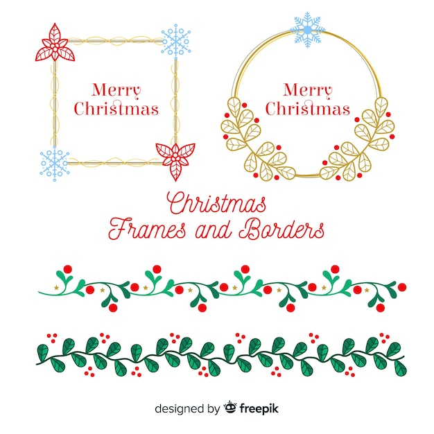 Christmas Borders Free.Lovely Set Of Christmas Borders And Frames Vector Free