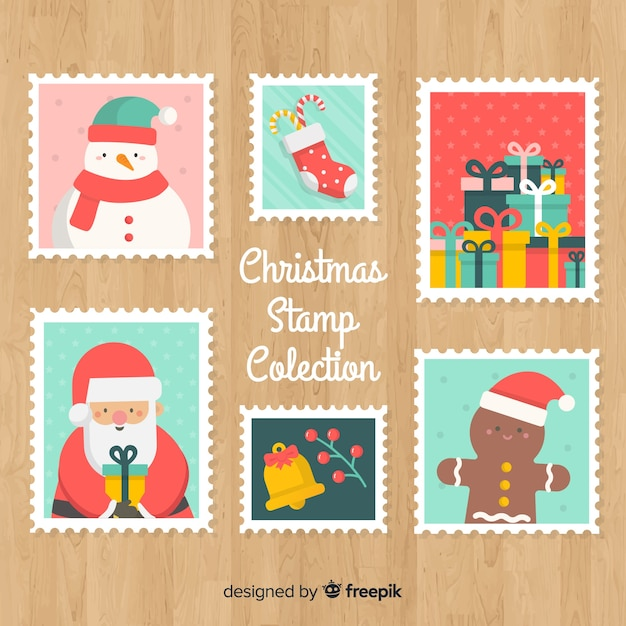 Lovely set of christmas stamps Free Vector