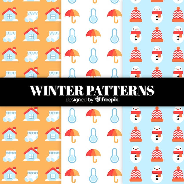 Lovely set of colorful winter patterns Free Vector
