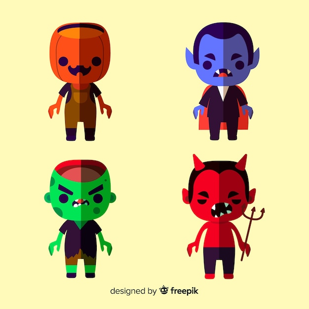 Lovely set of halloween characters with flat design Free Vector