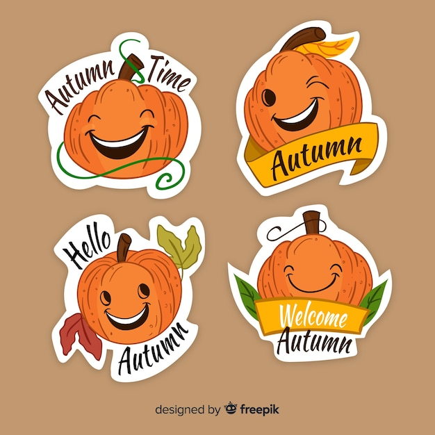 Lovely set of hand drawn autumn labels Free Vector