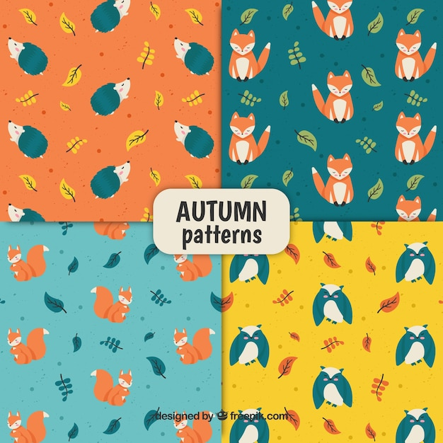 Lovely set of hand drawn autumn patterns Free Vector