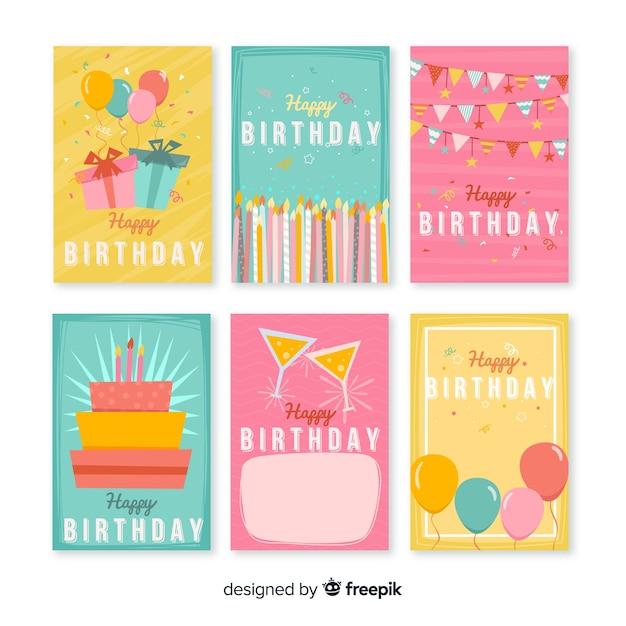 Lovely Set Of Birthday Cards Vector Free Download