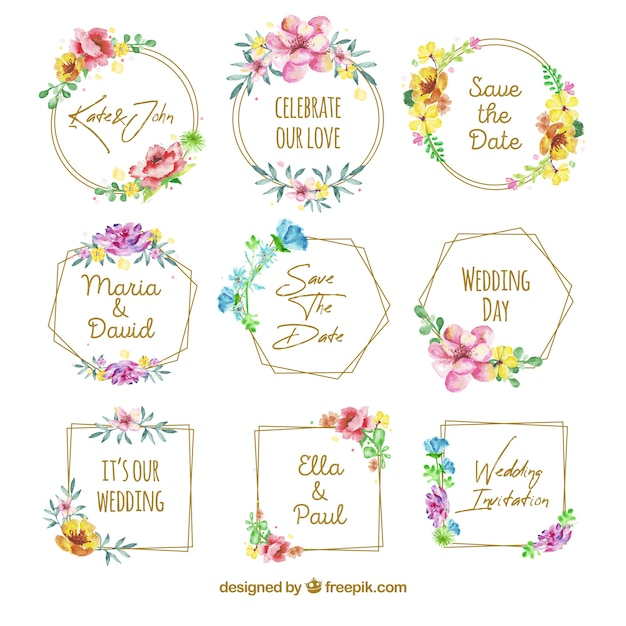 Lovely set of floral wedding badges Free Vector