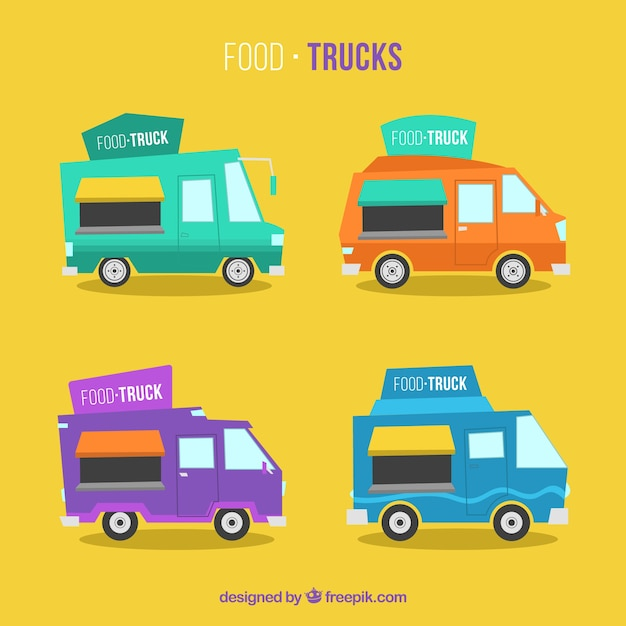 Lovely set of modern food trucks