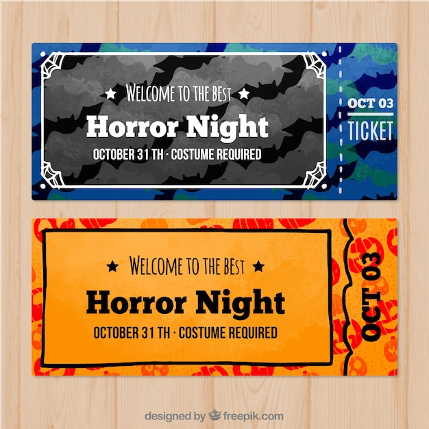 Lovely set of modern halloween tickets