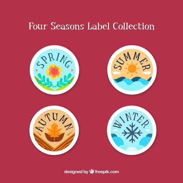 Lovely set of seasons badges Free Vector