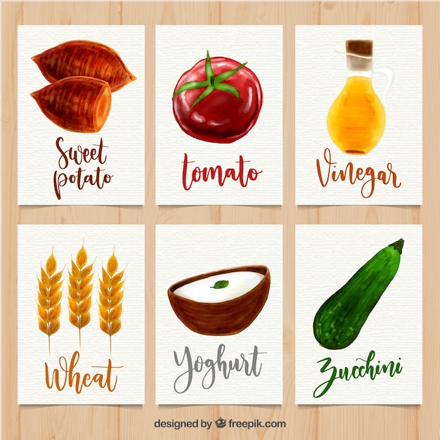 Lovely set of watercolor food cards Free Vector