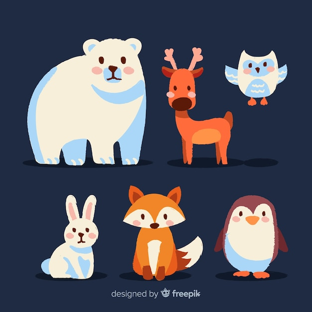 Lovely set of winter forest animals Free Vector