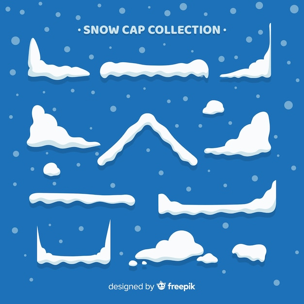 Lovely snow cap collection Free Vector