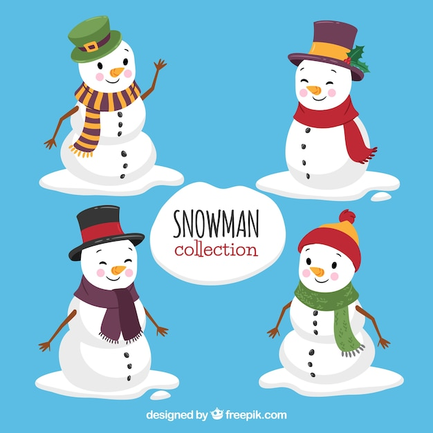 Lovely snowman set Free Vector