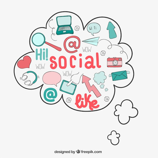 Lovely social media icons Premium Vector
