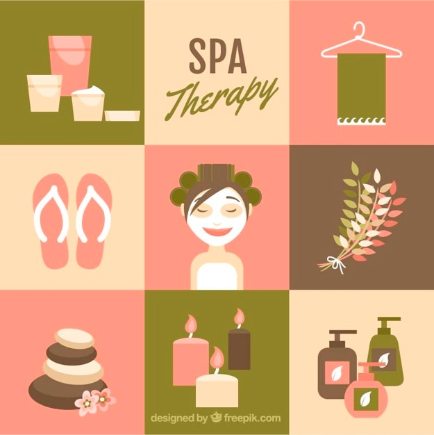 Lovely spa elements Free Vector