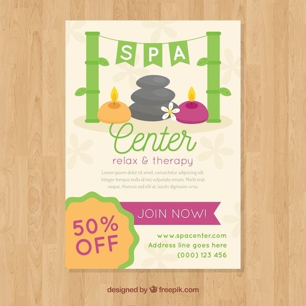 lovely spa flyer template vector free download