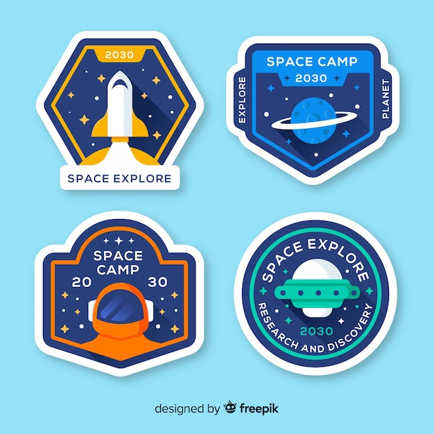 Lovely space badge collection with flat design Free Vector