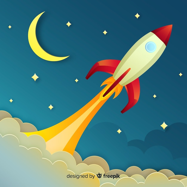 Lovely space rocket composition with origami style Free Vector
