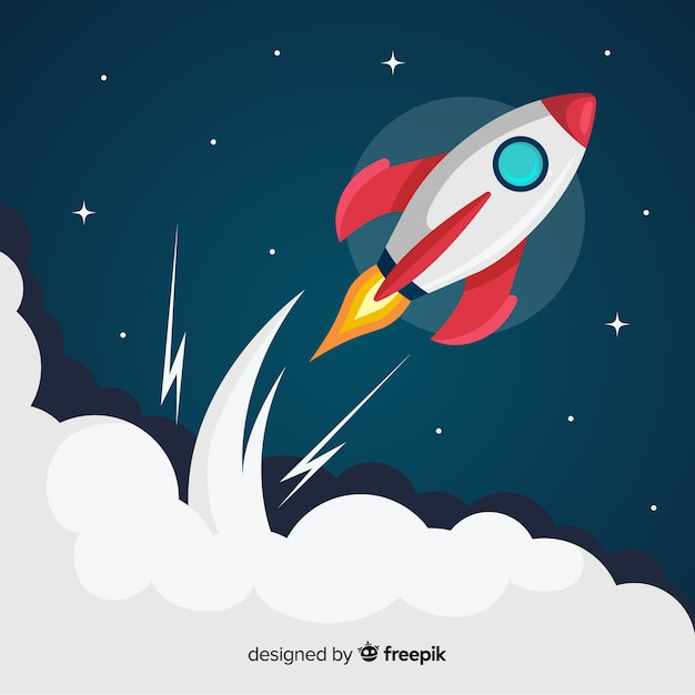 Lovely space rocket with flat design Premium Vector