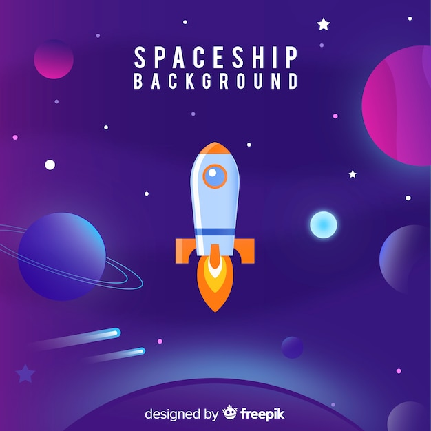 Lovely spaceship background with flat design Free Vector