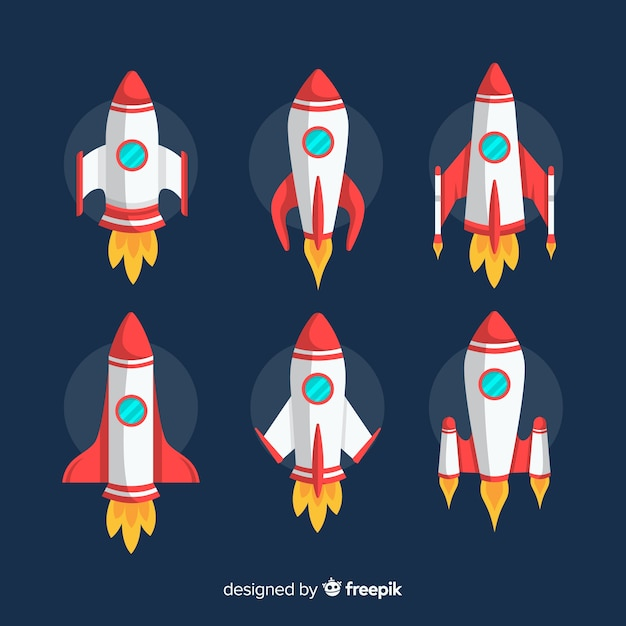 Lovely spaceship collection with flat design Premium Vector