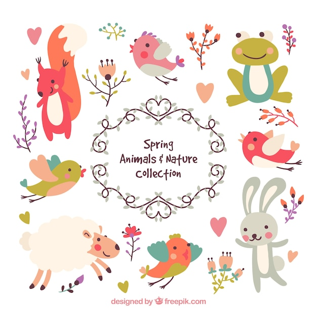 Lovely spring animals and nature set Free Vector
