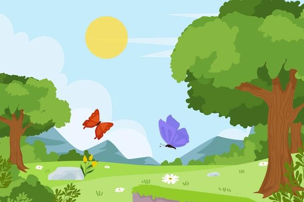 아름다운 봄 풍경 배경 무료 벡터