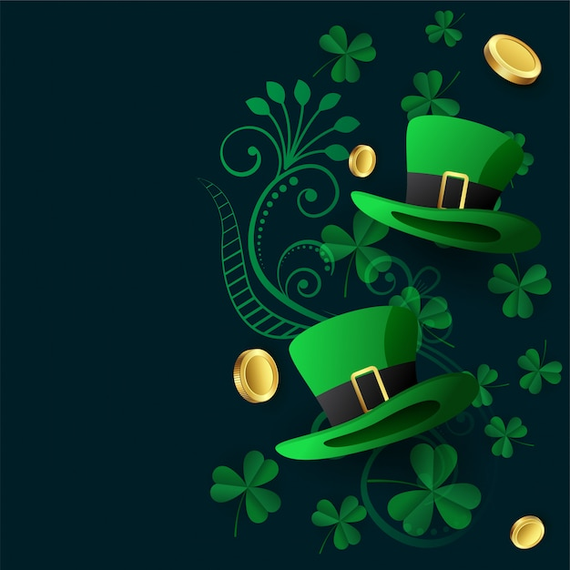 Lovely st patricks background with hat coin and leaves Free Vector