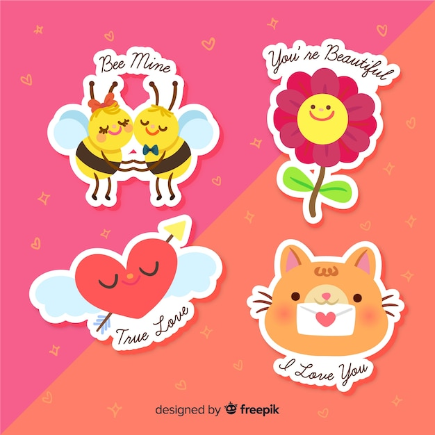 Lovely sticker collection Free Vector
