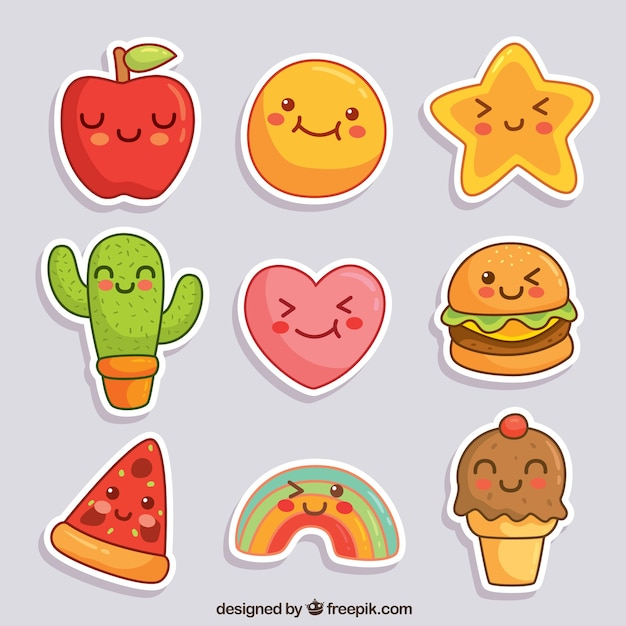 Lovely stickers with smiley faces Free Vector