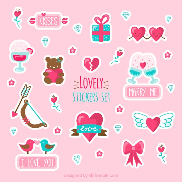 Lovely stikers set Free Vector