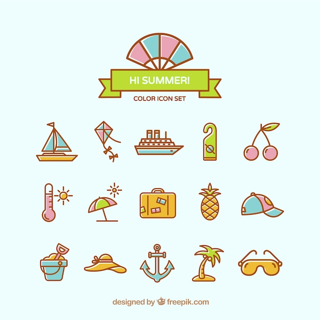 Lovely summer icons Free Vector