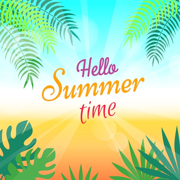 Lovely summer promotional poster with green palms Premium Vector