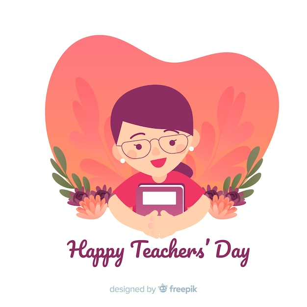 Lovely teachers' day composition with flat design Free Vector