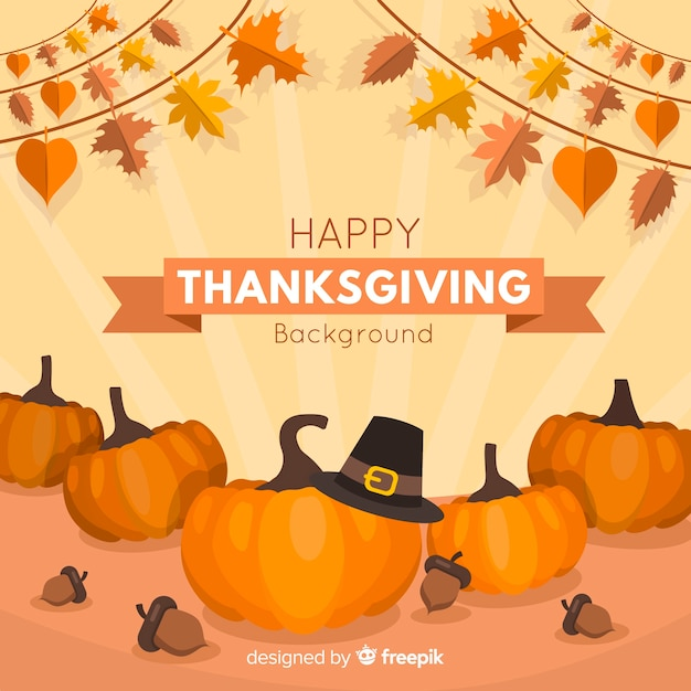 Lovely thanksgiving background with flat design Free Vector