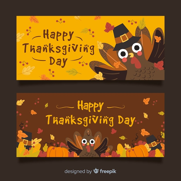 Lovely thanksgiving banners Free Vector