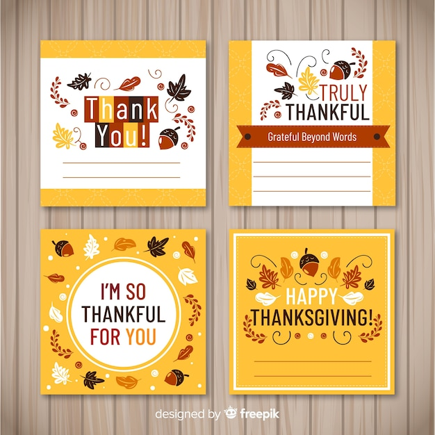 Lovely thanksgiving card collection with flat design Free Vector