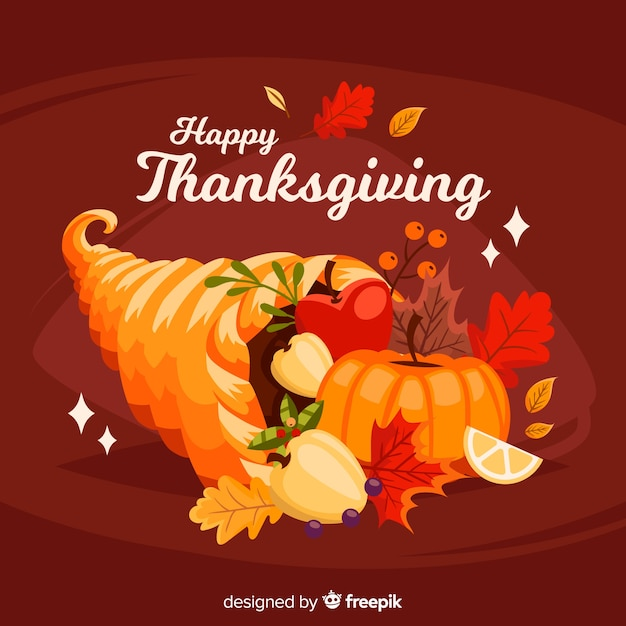 Lovely thanksgiving day background with flat design Free Vector